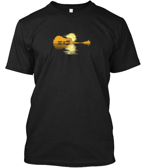 Guitar Lake Shadow Love Guitar Funny Gif Black T-Shirt Front