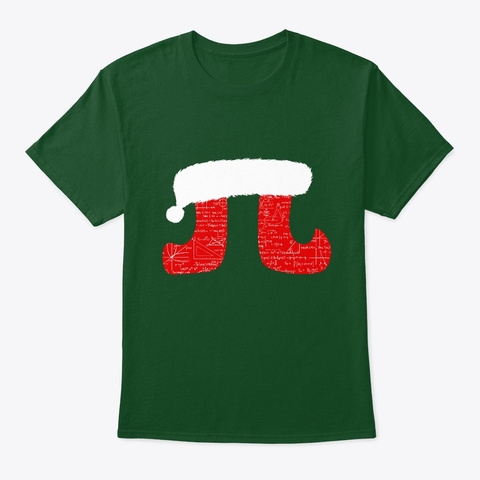 Pi Christmas Math Science Algebra Gift Deep Forest T-Shirt Front