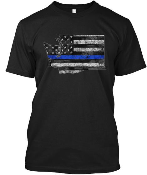 Washington Thin Blue Line Black T-Shirt Front