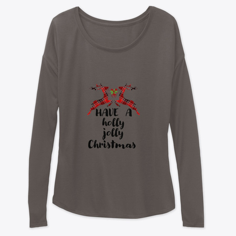 Holly, Jolly Christmas Dark Grey Heather T-Shirt Front