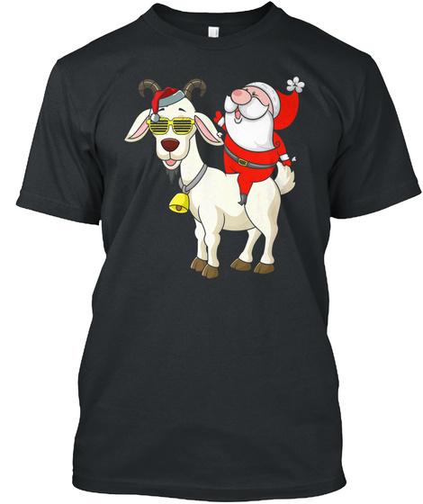 Funny Santa Riding Goat Tshirt Goat Love Black T-Shirt Front