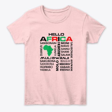 Hello Africa Light Pink T-Shirt Front