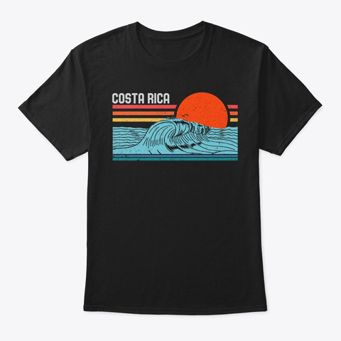 Vintage Retro Costa Rica Beach Surfing Black T-Shirt Front