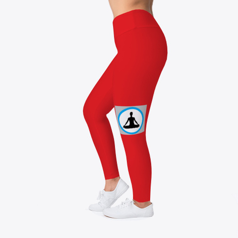 Yoga And Sports Leggings For Women Red T-Shirt Left