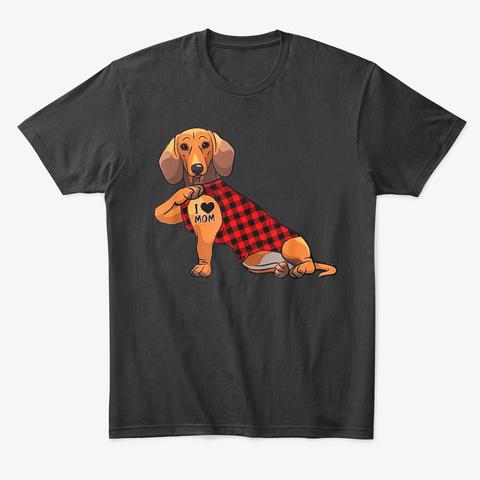 Dachshund Dog I Love Mom Tattoo Black T-Shirt Front