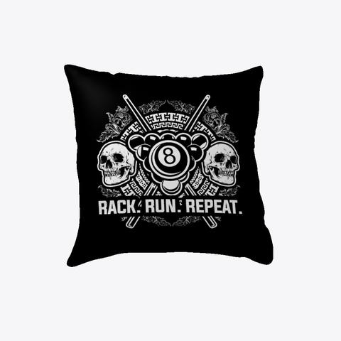 Pool: Run. Rack. Repeat. Black T-Shirt Front