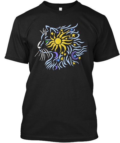 Celestial Cat Black T-Shirt Front