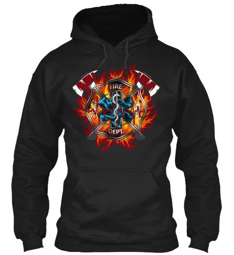 Firefighter Art Black T-Shirt Front