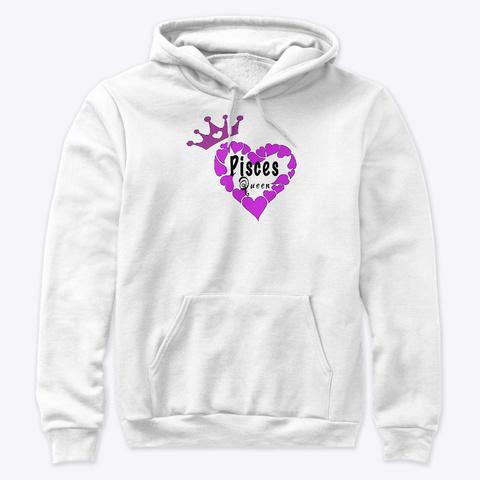 Pisces Queen Purple Heart White T-Shirt Front