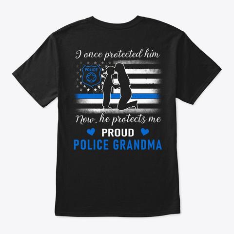 Police Grandma T Shirt   Family Shirt Black T-Shirt Back