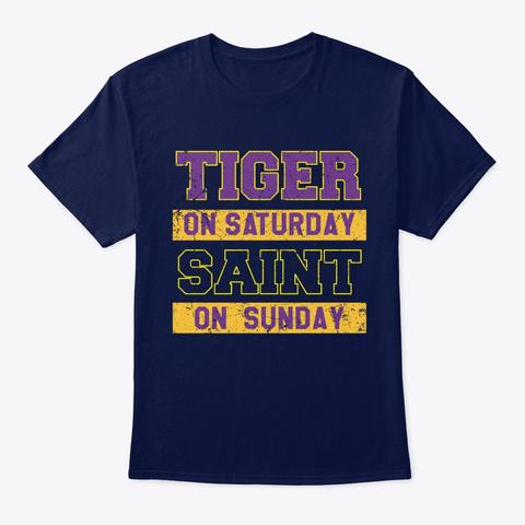 Tiger On Saturday Saint On Sunday Shirt Navy T-Shirt Front