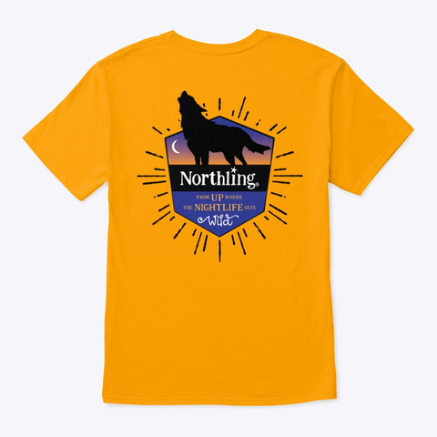 Northling™ Nightlife Wolf   Style 1 (Ob) Gold T-Shirt Back