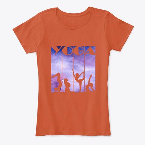 Yoga Posture Design   Color Splash    Deep Orange T-Shirt Front