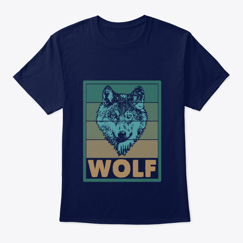 Wolf Wildlife Navy T-Shirt Front
