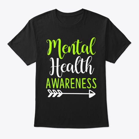 Mental Health Awareness Ribbon Support Black T-Shirt Front