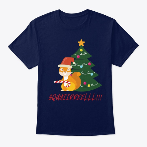 Christmas Tree Squirrel  Navy T-Shirt Front