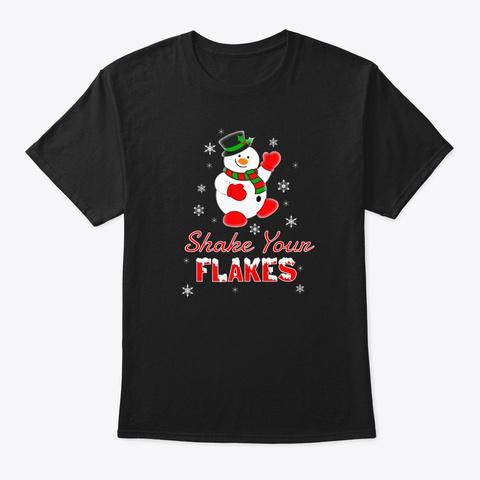 Holiday Snowman Shake Flakes  Black T-Shirt Front