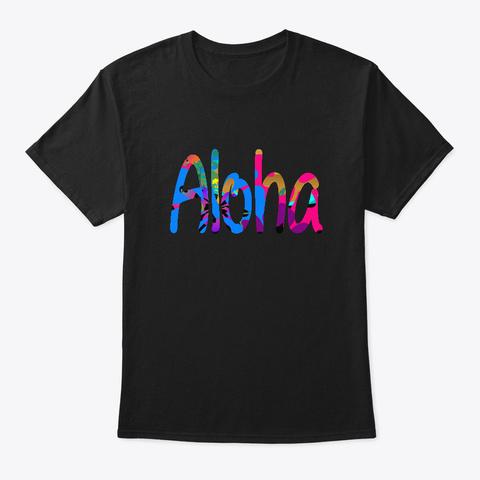 Aloha Beach Hawaii Hawaiian Island Tee Black T-Shirt Front