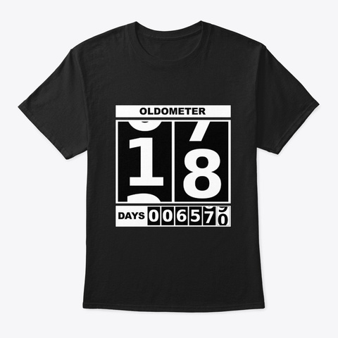 18th Birthday Oldometer Black T-Shirt Front