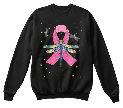 Dragonfly Pink Awareness Ribbon (Z) Black T-Shirt Front