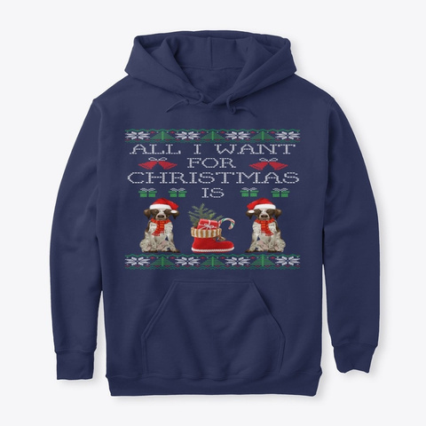 German Shorthaired Pointer   Christmas Navy T-Shirt Front