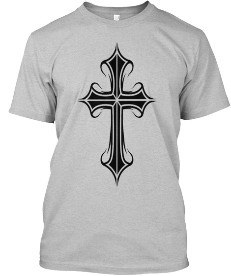 The Sacred Cross Light Heather Grey  T-Shirt Front