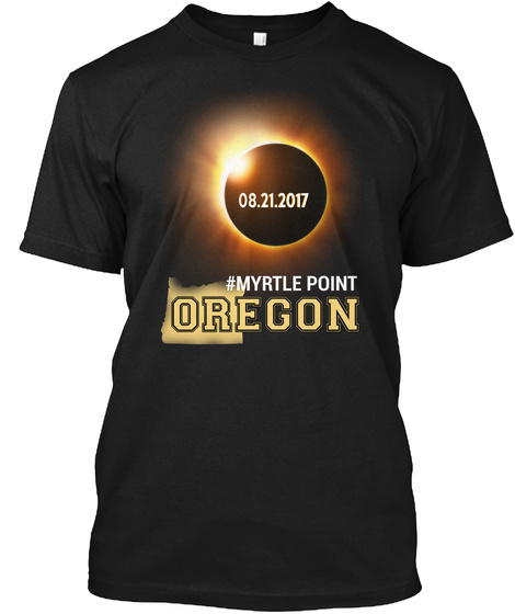 Eclipse Myrtle Point Or. Customizable City Black T-Shirt Front
