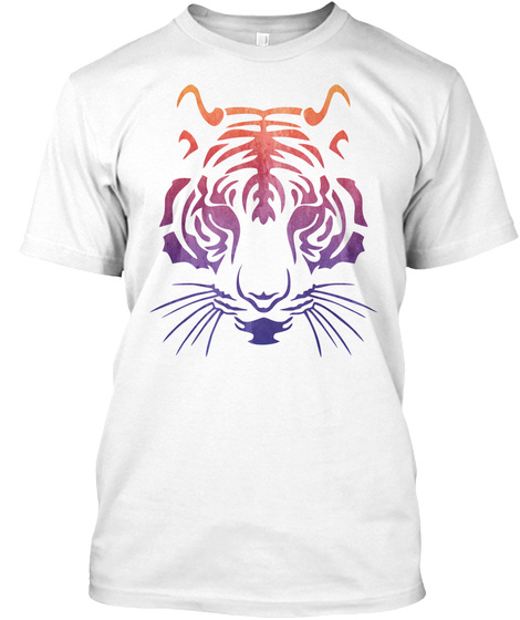 Tiger Face White T-Shirt Front