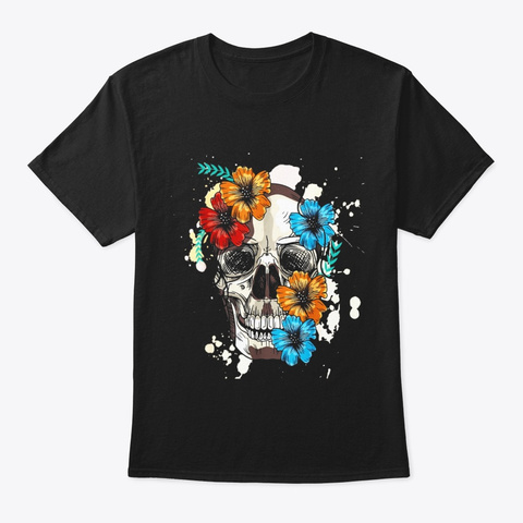 Skull And Flowers T Shirt Black T-Shirt Front