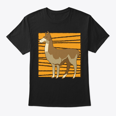Geometric Low Poly Llama Birthday Gift Black T-Shirt Front