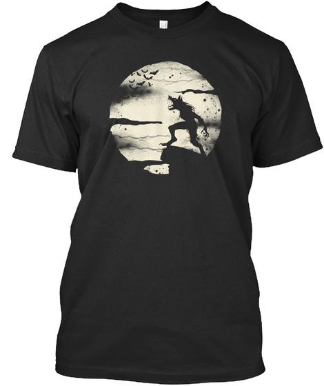 Werewolf Fullmoon  Black T-Shirt Front