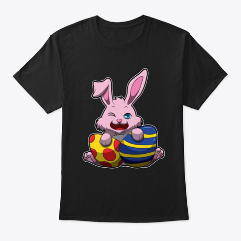 Cute Easter Bunny Wishes You A Happy Black T-Shirt Front