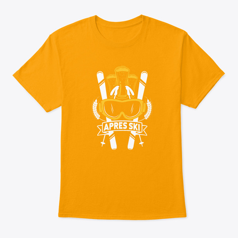 Apres Ski Bier Snow Slope Holiday Party Gold T-Shirt Front
