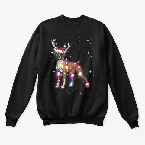 Christmas Lights Boxer Dog T Shirts Black T-Shirt Front