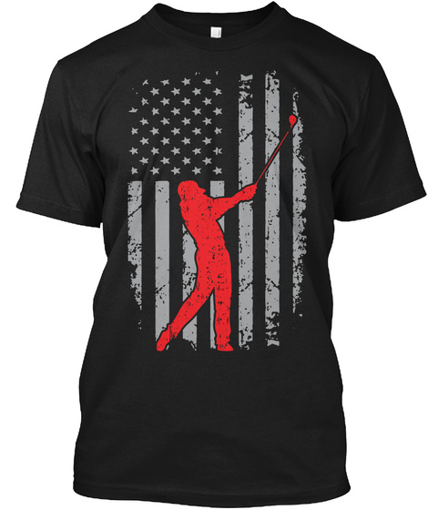 American And Golf Usa Flag Golf Black T-Shirt Front