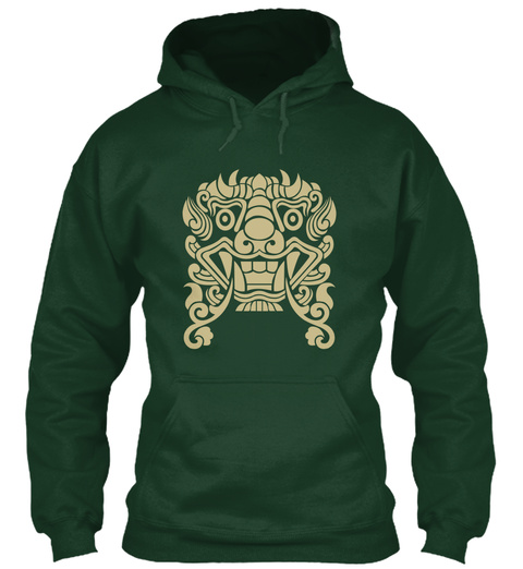 Hoodie Ancient Tribal Mask Forest Green T-Shirt Front