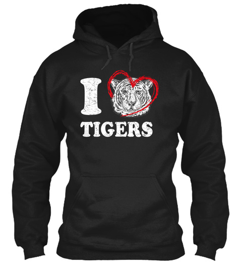 I Love Tigers Black T-Shirt Front