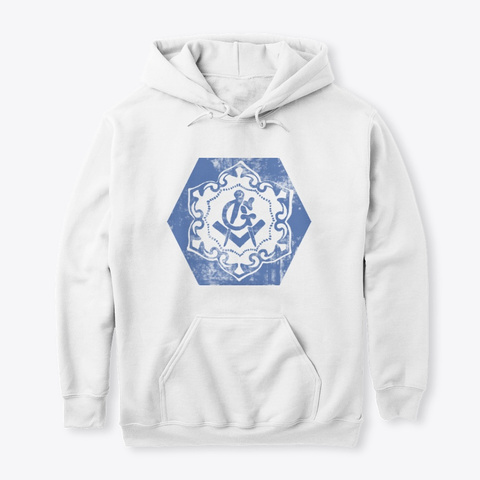 Art Deco Masonic Blue Design White T-Shirt Front