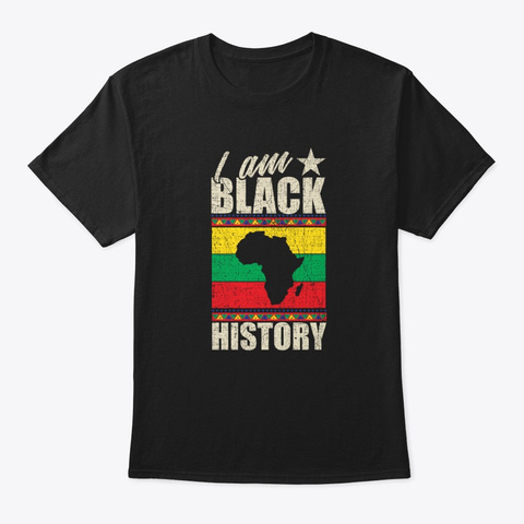 Black History Month Gift African Map Black T-Shirt Front