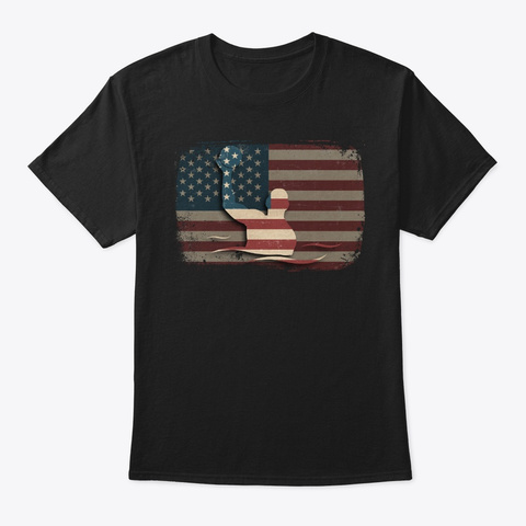 Vintage American Flag Water Polo Gift Black T-Shirt Front
