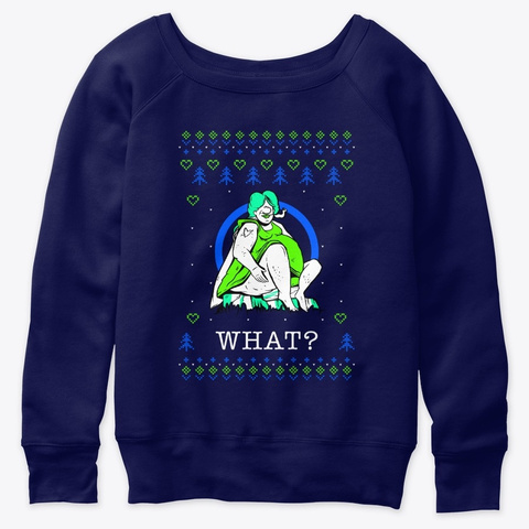 Ugly Christmas Sweater Fat Woman Smoking Navy  T-Shirt Front