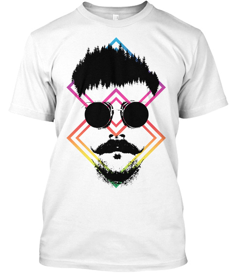 Hipster Man Style Beard Mustache White T-Shirt Front