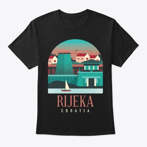 Croatia Skyline Rijeka Souvenir Gift Black T-Shirt Front