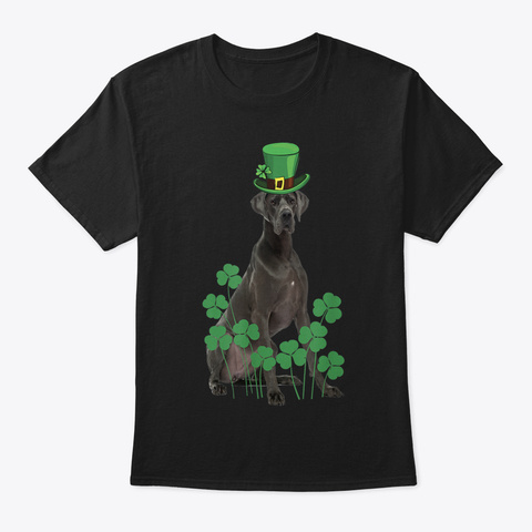 Great Dane Irish Shamrock St Patrick Day Black T-Shirt Front