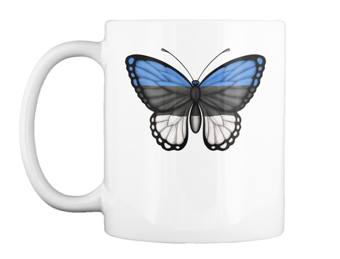 Mug   Estonian Flag Butterfly White T-Shirt Front