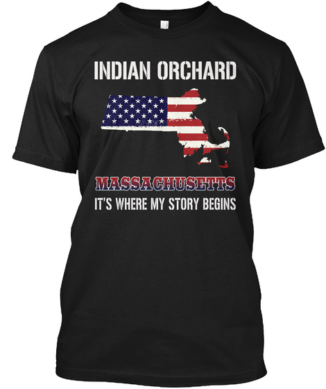 Indian Orchard Ma   Story Begins Black T-Shirt Front