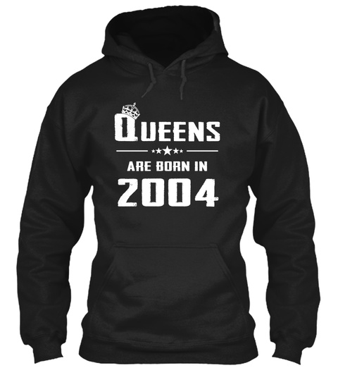 Queens Are Born In 2004 Black T-Shirt Front