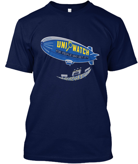 Uni Watch For People Who Get It Navy T-Shirt Front