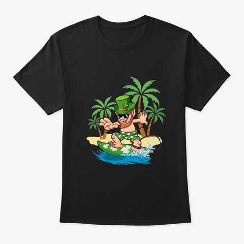 St Patricks Day Hawaiian Leprechaun Black T-Shirt Front
