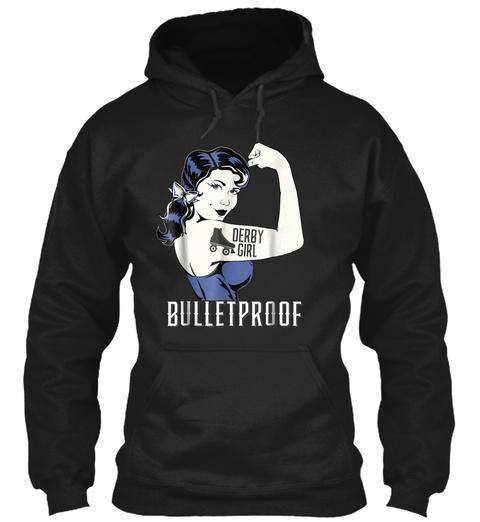 Awesome Bulletproof Roller Derby Girl T  Black T-Shirt Front